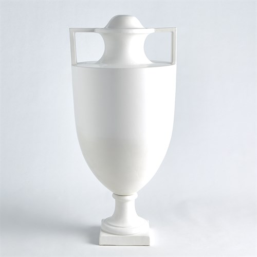 Square Handle Amphora Urn-Matte White
