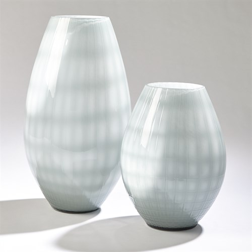 Cased Glass Grid Vase-Blue/Grey