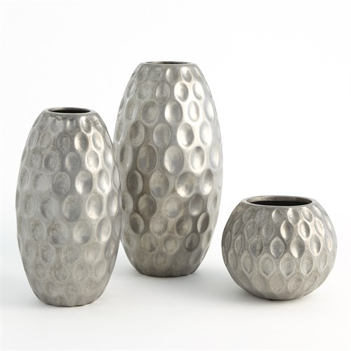 Dimple Vase-Silver
