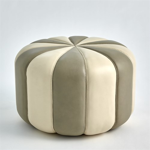 Peppermint Pouf-Light Grey/Ivory