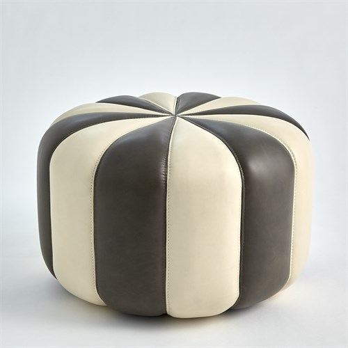 Peppermint Pouf-Dark Grey/Ivory