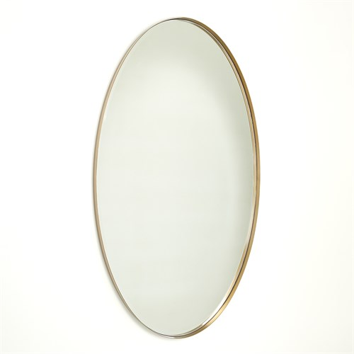 Elongated Oval Mirror-Brass