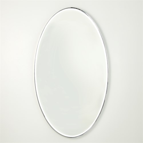 Elongated Oval Mirror-Nickel-Lg