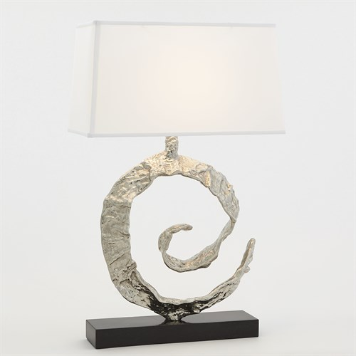 Swirl Lamp-Nickel w/Black Granite
