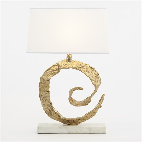Swirl Lamp-Brass-White Marble