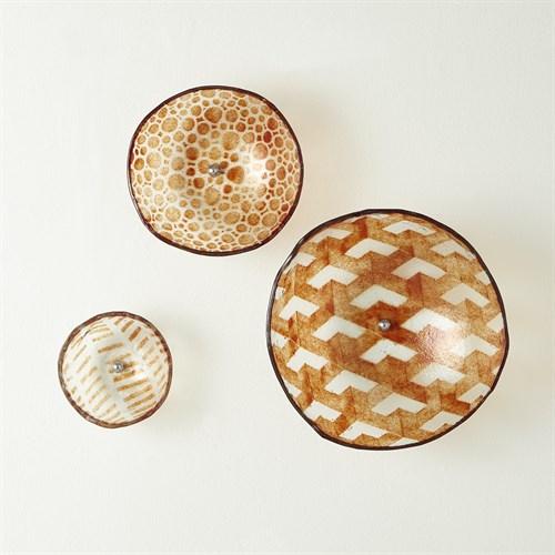 S/3 Wall Bowls-Amber