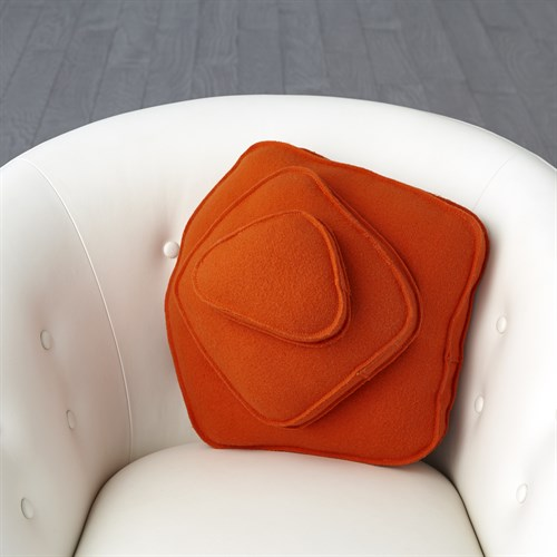 Rock Pillow-Orange-Pebble Shape