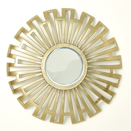 Radial Cut-Out Mirror-Antique Brass
