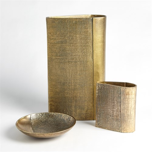 Linen Vase and Tray-Brass