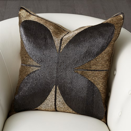Blossom Beaded Pillow-Gold/Black
