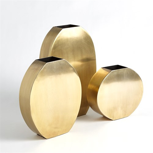 Squared Oval Vases-Antique Brass