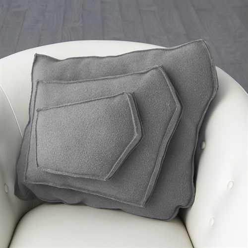 Rock Pillow-Grey-Trapezoid Shape