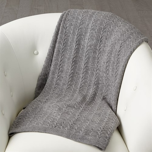 ~Cable Knit Alpaca Wool Throw-Grey