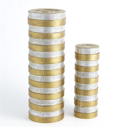 High Metal Horizontal Stripe Box-Nickel/Brass