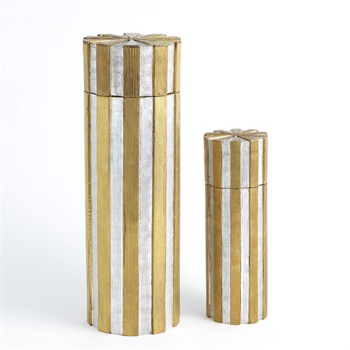 High Metal Vertical Stripe Box-Nickel/Brass