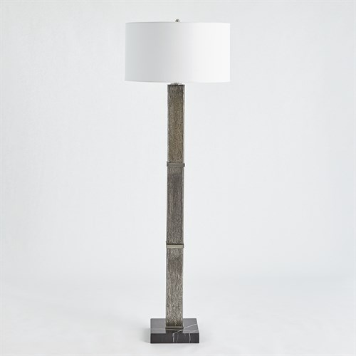 ~Square Column Mercury Glass Floor Lamp-Nickel