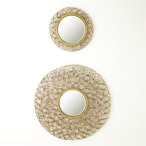 Curly Mirror-Antique Gold