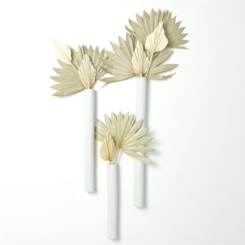 Striped Tube Wall Vase-Matte White