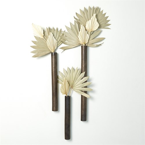 Ridges Tube Wall Vase-Bronze