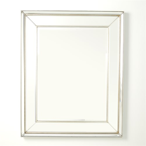 Bevel on Bevel Mirror-Silver Leaf