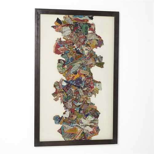 "Kantha ""I""  Abstract Design w/Metal Frame"