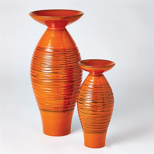 Ripple Flare Top Melon Vase-Orange