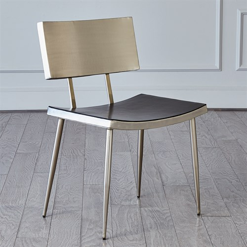 Mod Metal Chair w/Grey Leather Seat Cover-Nickel