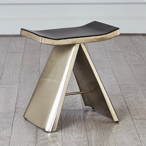 Mod Metal Stool w/Grey Leather Seat Cover-Nickel