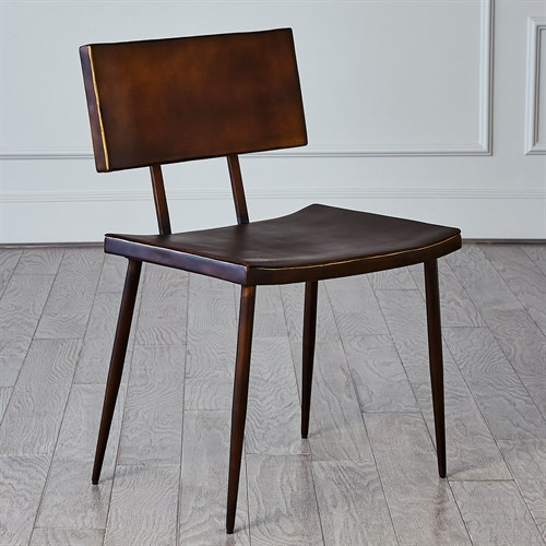 Mod Metal Chair w/Brown Leather Seat Cover-Bronze