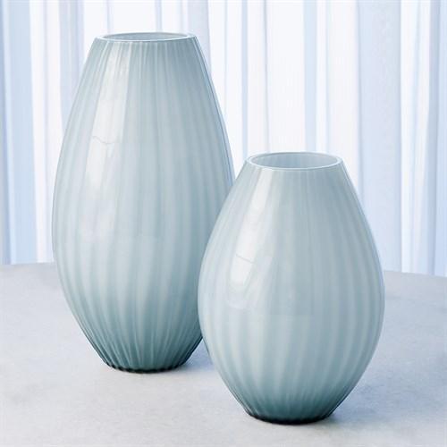 Cased Glass Stripe Vase-Blue/Grey