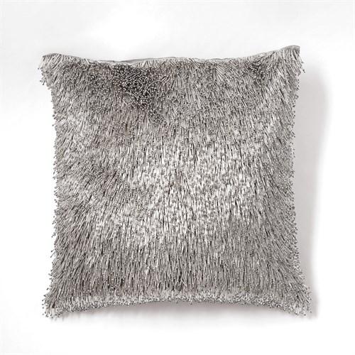 Shimmy Fringe Pillow-Silver