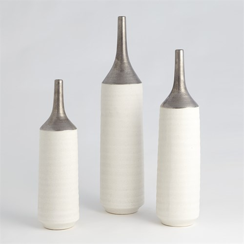 Two-Toned Vase-Silver/White