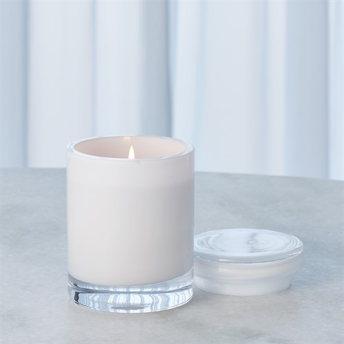 White Cased Glass Poured Candle-Sm
