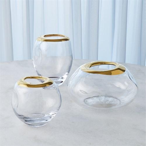 Organic Formed Vase-Gold Rim