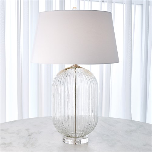 Clear Glass Ribbed Barrel Lamp