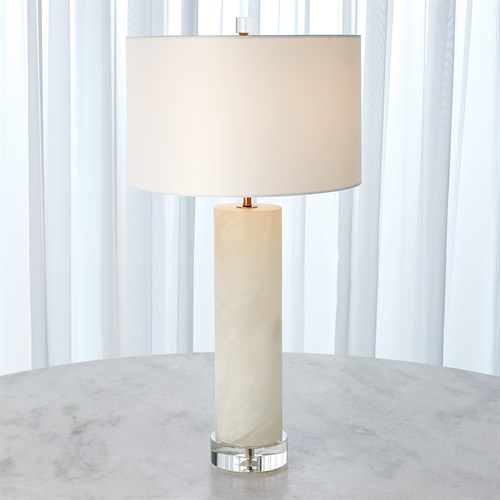Alabaster Cylinder Table Lamp-Brass