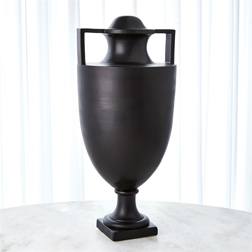 Square Handle Amphora Urn-Matte Black