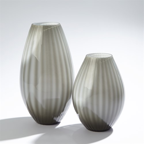 Cased Glass Stripe Vase-Grey