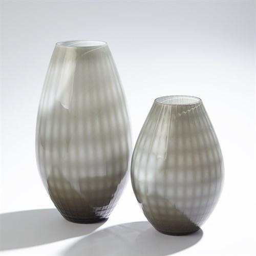 Cased Glass Grid Vase-Grey