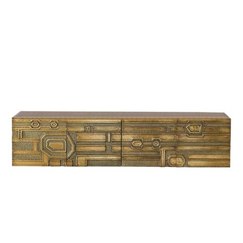 Abstract Block Floating Shelf-Brass