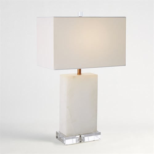 Alabaster Rectangular Table Lamp-Brass