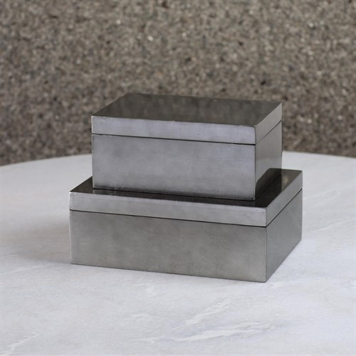 Gunmetal Silver Leaf Box
