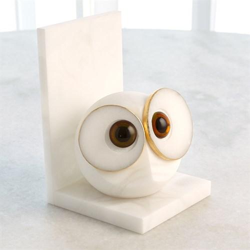 Pair Alabaster Big Eyed Owl Bookends