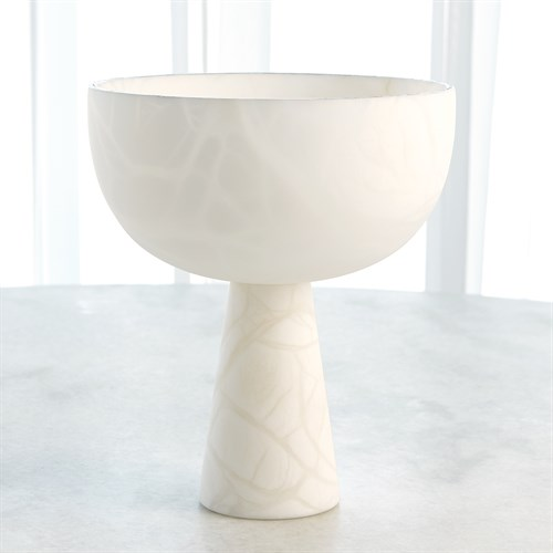 Footed Alabaster Bowl w/Silver
