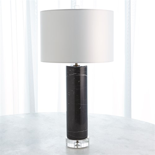 Marble Cylinder Table Lamp-Black