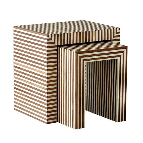 Sienna Nesting End Tables-Walnut/Bone