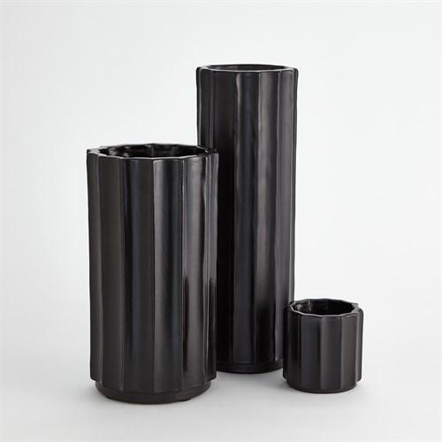 Fluted Column Vase-Matte Black