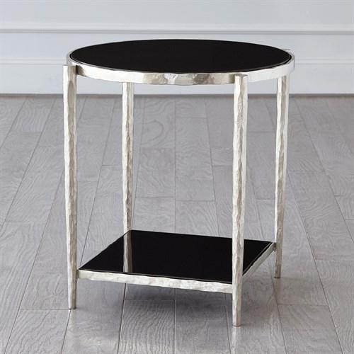 Circle/Square Side Table-Nickel w/ Black Granite