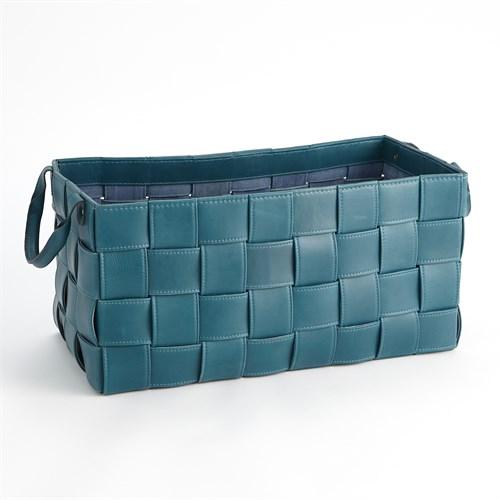 Soft Woven Leather Basket-Azure