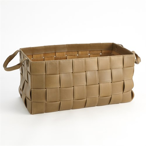 Soft Woven Leather Basket-Putty